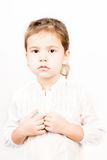 小女孩情感表情-安静 免版税库存图片