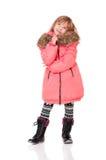 小女孩打扮与冬天衣裳 免版税图库摄影