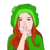 小女孩投入了她的手指到她的嘴唇 保留秘密 免版税库存照片