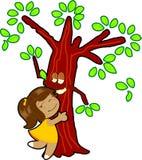 小女孩拥抱结构树 库存图片
