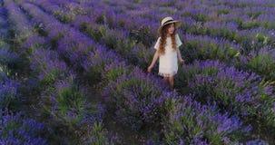 小女孩接触淡紫色,当在淡紫色领域时 空中射击 股票录像
