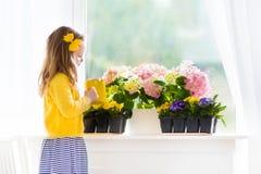 小女孩浇灌的开花在家开花 免版税图库摄影