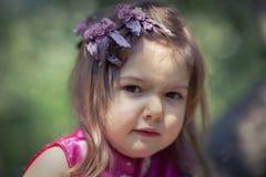 小女孩特写镜头画象  免版税图库摄影