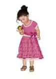 小女孩用桃子 库存照片