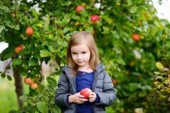 小女孩用由苹果树的一个苹果 免版税图库摄影