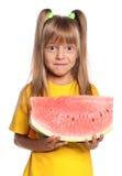 小女孩用西瓜 库存图片