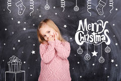 从小女孩的圣诞快乐 库存照片