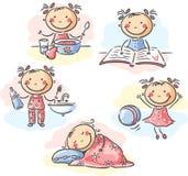 小女孩的每日活动 免版税库存照片