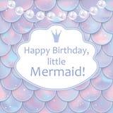 小女孩的生日贺卡 全息照相的鱼或美人鱼标度、珍珠和框架 也corel凹道例证向量 免版税库存照片