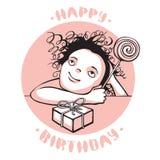 小女孩的生日贺卡 向量例证