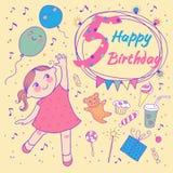 小女孩的生日5年。贺卡 免版税库存图片