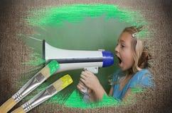 小女孩的综合图象有手提式扬声机的 免版税库存照片