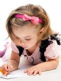 小女孩绘画 图库摄影