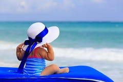 小女孩背面图大帽子的在夏天 免版税库存图片