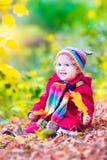 小女孩获得乐趣在秋天公园 免版税库存照片