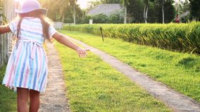 小女孩获得跑在阳光下领域的乐趣 股票视频