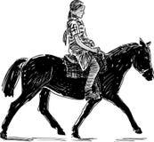 小女孩马骑术 免版税图库摄影