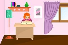 小女孩读书 免版税库存图片
