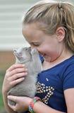 小女孩从新的宠物小猫得到在鼻子的叮咬 库存照片