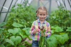 小女孩画象收集庄稼葱 免版税图库摄影