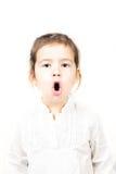 小女孩画象有开放的嘴的 库存图片