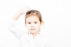 小女孩画象用手 免版税图库摄影