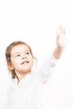 小女孩画象用手 免版税库存照片