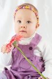 小女孩画象紫罗兰色围兜礼服的有头饰带的 免版税库存照片