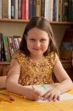 小女孩绘画 免版税库存照片