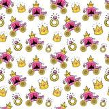 小女孩Seamless Background公主与女王教练、冠和圆环的 图库摄影