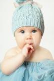 小女婴,生日贺卡 免版税库存照片