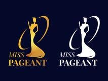 小姐壮丽的场面与选美皇后的商标标志佩带冠和行动手金子和白色样式传染媒介设计 向量例证