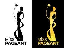 小姐夫人壮丽的场面与女王/王后的商标标志在夫人女王/王后传染媒介设计附近佩带晚礼服和星 向量例证