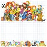 小学生和回到庆祝水彩例证的学校背景 库存照片