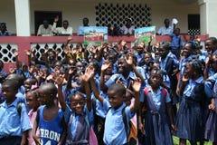 小学生在农村海地 免版税库存照片