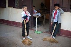 小学生在老挝 库存照片
