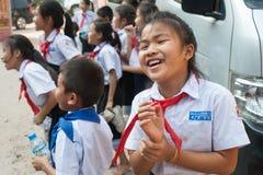 小学生在老挝 免版税库存照片
