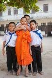 小学生在老挝 免版税库存图片