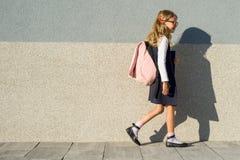 小学的女小学生有笔记本的在他的手上 有背包的一个女孩上学 回到学校 免版税库存照片