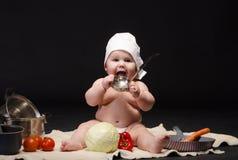 小孩厨师 免版税库存图片