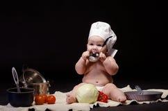 小孩厨师 库存图片