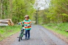 小孩在一辆自行车的男孩骑马在森林里 免版税库存照片