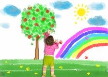 小孩在墙壁上画 图库摄影