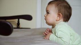 小孩在家镇静和被集中的沙发和观看的动画片附近的婴孩身分,镇静时间 影视素材