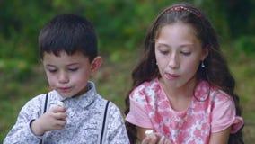 小孩在庭院里吃甜点 股票视频