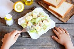 小孩在他的手上拿着一把叉子 孩子吃沙拉用大白菜、罐装金枪鱼和鹌鹑蛋 库存图片