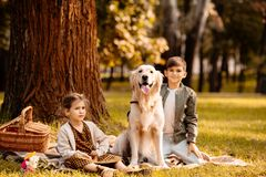 小孩坐一条野餐毯子在有a的一个公园 免版税图库摄影