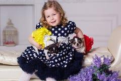 小孩女孩拿着两条小狗 库存照片