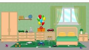小孩子的卧室的内部有家具的,欢乐decorat 库存照片