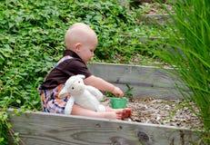 小孩男孩和玩具在一个被日光照射了庭院里在春天产小羊戏剧 免版税库存图片